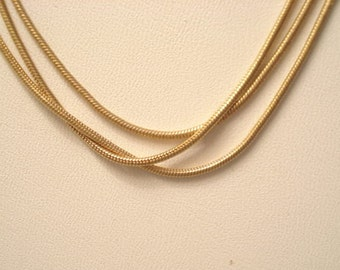 Beautiful Vintage Silky Triple Chain Necklace Gold Tone