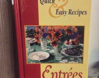 Quick and easy entree recipes from MADD Mothers Against Drunk Driving 1993, tips for quick and easy meals, vintage cookbook, MADD cookbook