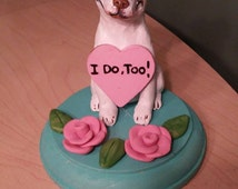Smiling Pitbull Dog Wedding Cake Topper/ALL BREEDS made from a picture of your pet