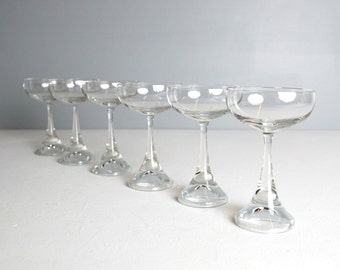 S/6 Rosenthal Crystal Cordial, Liquor, Appertif, Mid Century, Retro, Stemware, Rosenthal, Made in Germany, German Crystal