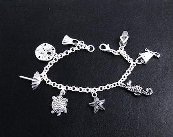 Beach Jewelry, Ocean Jewelry, Charm Bracelet, Beach Bracelet, Water Bracelet, Nautical Bracelet, Sea Bracelet, Ocean Bracelet