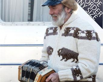 Custom Cowichan Sweater, Mary Maxim Buffalo Handmade Cardigan Jumper  made to order