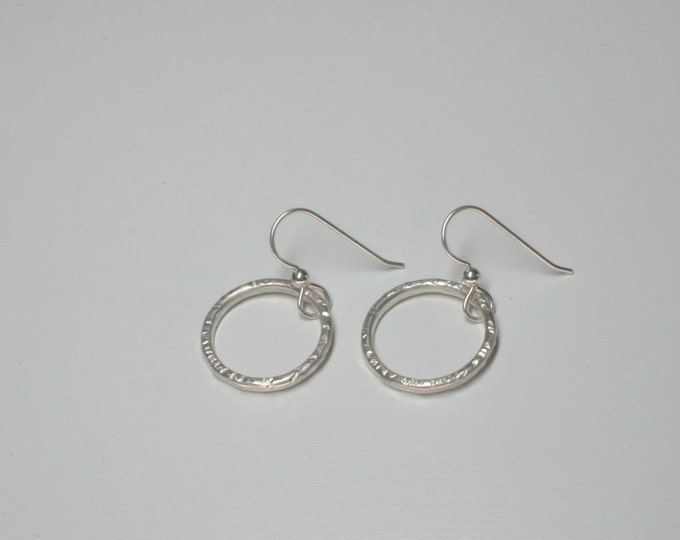 sterling silver hammered dangle drop circle earrings - wild grace jewelry