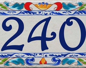 Hand Painted Address Plaques, Italian Number Tile, Ceramic House Numbers, Housewarming Gift, Mailbox Numbers, Decorative Tile Numbers, Sign