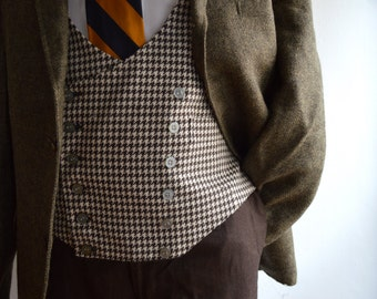 Vintage 1970s Double Breasted Brown and White Houndstooth Waist Coat Size 40