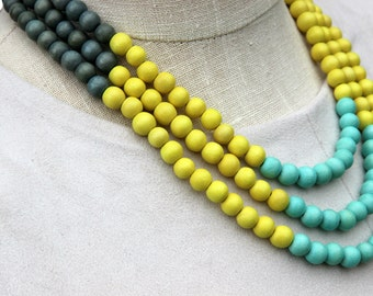 summer jewelry / summer necklace / beaded necklace / turquoise mint green yellow grey necklace / colorful necklace / multi color necklace