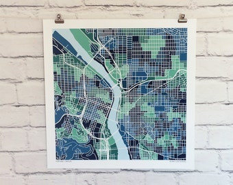 Portland Oregon Map Print