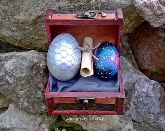 Galaxy Protector Dragon Eggs, Silver Dragon Egg with Galaxy Egg, Geek Decor, Gift for Boyfriend, Geek Girl Gift, Geekery, Glow in the Dark