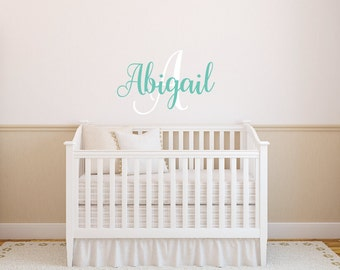 Monogram Wall Decal - Baby Girl Nursery Decal - Monogram Name Decal - Personalized Name Decal Girls Name Decal Childrens Wall Decal