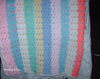 Multi colored striped Baby Blanket
