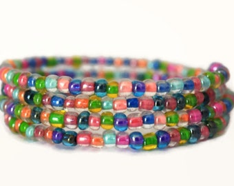 Glass Beaded Wrap Bracelet - Handmade Jewelry - Colorful Jewelry - Homemade - Silver Plated - Gifts for Her