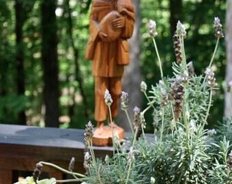 Wood carved folk art man // Spanish traveler // rustic art// shelf decor
