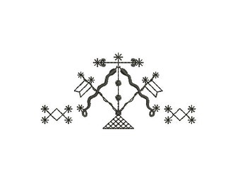 """Machine Embroidery Design Instant Download - Veve """"Damballah"""" Quilting Redwork"""