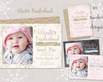 Winter Onederland invitation - Gold and Pink Wonderland