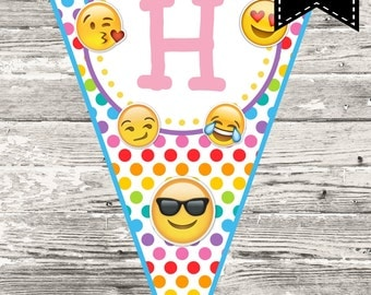Instant Download Emoji Happy Birthday Banner Printable Digital