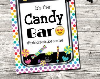 INSTANT DOWNLOAD OMG Emoji Candy Bar Sign Printable Digital
