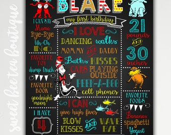 Dr Seuss 1st First Birthday Chalkboard Poster Board - Any Age Boy or Girl Party - Digital File Printable - Photo Prop - Cat in the Hat