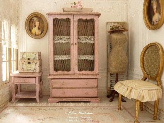 Gabinetto di miniatura campagna rose shabby in legno porte for Scala in legno shabby