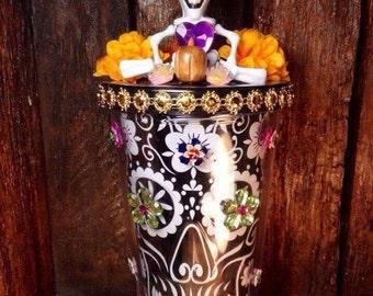Day-of-the-Dead Calavera Tumbler / Dia-de-los-Muertos Skull Decor / All Souls Day Folk Art Skeleton
