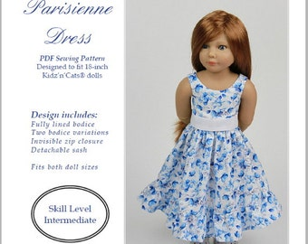 PDF Pattern #SS2016-01-K. Parisienne dress for Kidz'n'Cats dolls.