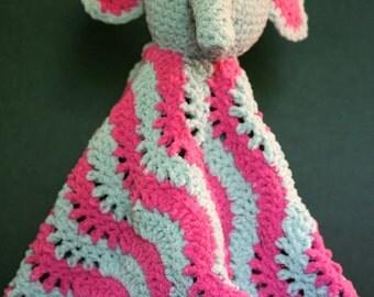 Super Soft Crochet Elephant Lovey Blankie