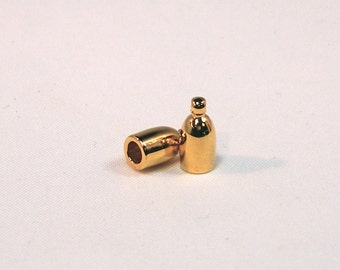 Gold Plated 3mm Bullet End Caps - 1 pair