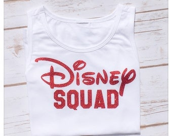DIY DISNEY SQUAD Sparkly Glitter Baby Girl Ladies Women Adut Iron On Decal Custom Color Black Siver Gold Pink Red