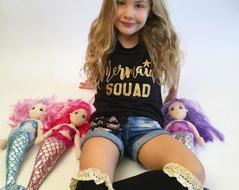 MERMAID SQUAD Girls Sparkly Glitter Bodysuit, T shirt or Tank top - Any Sparkle Color