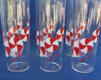High Ball Glasses Beach Ball Red/White Pattern Vintage