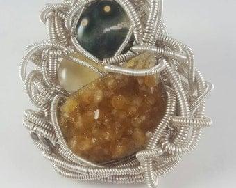 Druzy Citrine - Calcite - Ocean Jasper - Gemstone Jewelry - Boho Jewelry - Hippie Jewelry - Hipster Jewelry