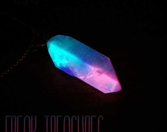 Resin glow in the dark crystal quartz necklace, cotton candy kawaii soft grunge, moonchild, pastel goth, fantasy witchy