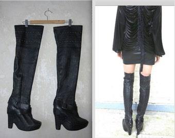 Overknee vtg GOTH boots EU 38,5 leather platform boots