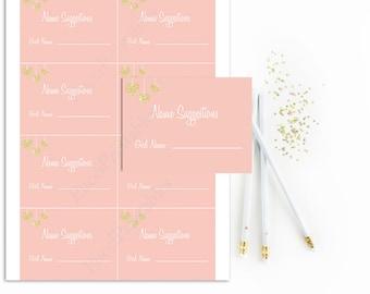 Pink Name Suggestion Baby Shower Cards Printable, Girl Name Suggestion Cards, Pink and Gold, Glitter Gold, Instant Download, Digital, DIY