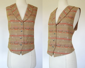 Pendleton wool vest, virgin wool, knockabout, aztec, button up, medium