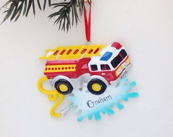 Firetruck Personalized Christmas Ornament / Child Christmas Ornament / Little Boy Ornament / Toddler Ornament