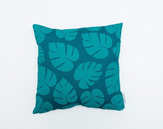 Tropical Leaf Print Pillow - Teal & Mint - 16x16