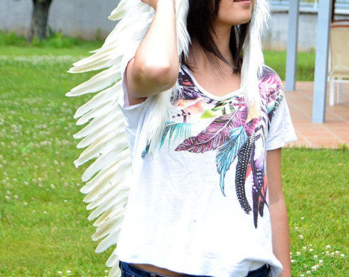 PRICE REDUCED N101- Extra Large Indian White Feather Headdress Headdress (43 inch long )