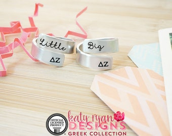 Delta Zeta Big Little Wrap Ring Set - ΔZ Big Little Sorority - Official Licensed Product - DZ Big Little Reveal - Hand Stamped Rings