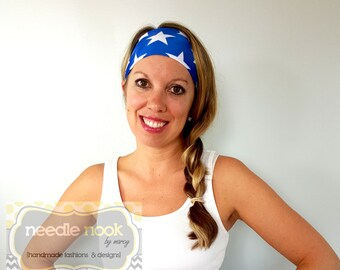 The Blue Stars Yoga Headband - Spandex Headband - Boho Wide Headband