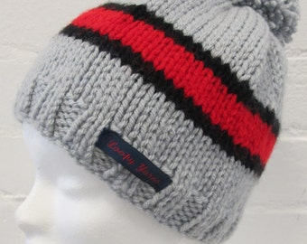 Grey and Red Handknit Beanie Hat with Pompom, stripy beanie, retro handknit beanie, retro beanie with bobble, red black grey, grey beanie