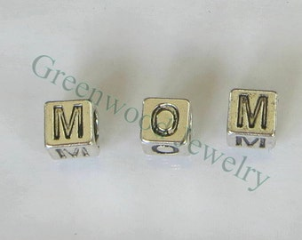3PCs-MOM Block Letters- European Beads and Charms for European Style Large Hole Bracelets, Great Gift Idea
