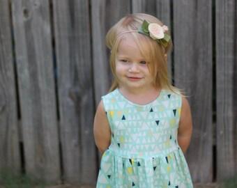 Girls birthday dress, baby girl clothing, birthday dress, girls dress, toddler dress, flower girl dress, tank dress, mint triangle dress