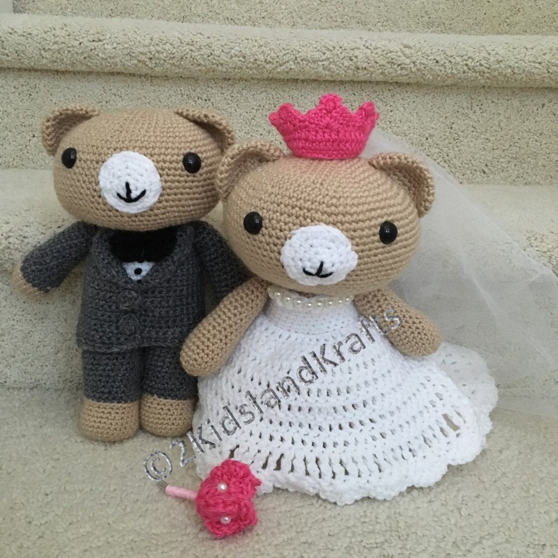 Crochet Wedding Gifts Patterns: Crochet Wedding Bear Couple