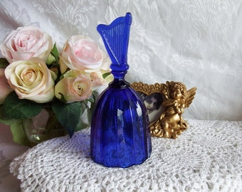 Vintage Cobalt Blue Crystal, Bell by Artmark, Made in Taiwan