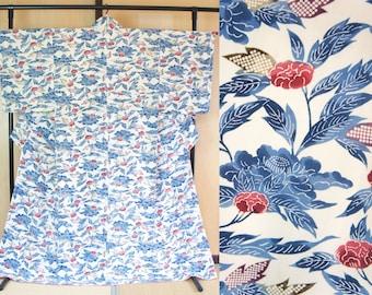Porcelain floral kimono white blue, off-white autumn kimono, Japanese vintage kimono, leaves, authentic kimono robe komon polyester 158 cm