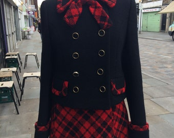 Mansfield late 60s early 70s cute wool suit checked red and black Dolly Bird chic