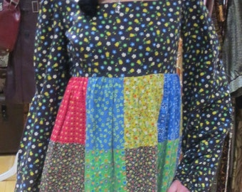 Folksy Artisan made dress by Mountain Artisans Patchwork 70s peasant chic