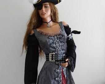 Beautiful O'hoy Pirate Lady Costume Outfit- Complete Set / Steampunk Pirate/ Rebel/ Renaissance Pirate/Ship Pirate/Pirate Wife Size L 12-14