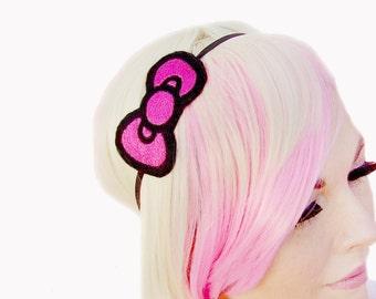Bow Headband - Pink Bow Headband - Back To School - Girls Headband - Cute Headband - Pink Headband - Pop Culture - Pink Headband