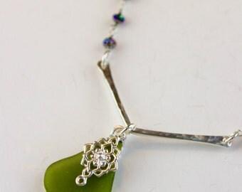 Green Sea glass necklace - Iris hematite - Sterling Sea glass jewelry - Hematite chain, Beach glass jewelry - Green pendant - Beach Martini